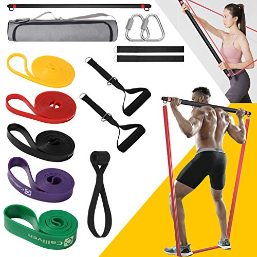 skonhed Resistance Band Bar,Pilates bar kit with 5 resistance band ,Resistance Bar Kit with Handle and Door Anchor,Home Gym Whole Body Strength Training bar for Men Women