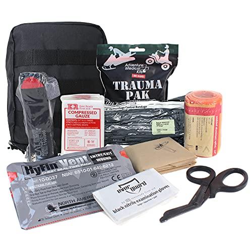 MediTac Premium IFAK Kit - Feat. Trauma Pak, CAT Tourniquet, HyFin Vent Chest Seal, Israeli Bandage - Black