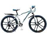 26' Montaña Bicicleta, 21 velocidades Frenos de Disco Adultos Bicicleta de montaña, Aleación de Aluminio Bold Suspension Frame Bicicletas Engranajes, Azul