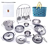 BABYHORSE Junior Mini Kitchen Toys Pretend Cook Food Cookware Stainless Steel Pots & Pans (Fit Little Tiny Hands) Play Set with Shopping Basket Cooking Utensils for Kids Girls Boys Gifts
