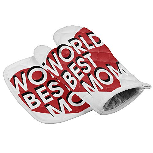 Oven Mitt and Pot Holder Set, Anti Heat Non-Slip Food Grade Kitchen Mitten, Safe Insulated Glove for Kitchen, Cooking, Baking, BBQ World Best Mom on Red Heart
