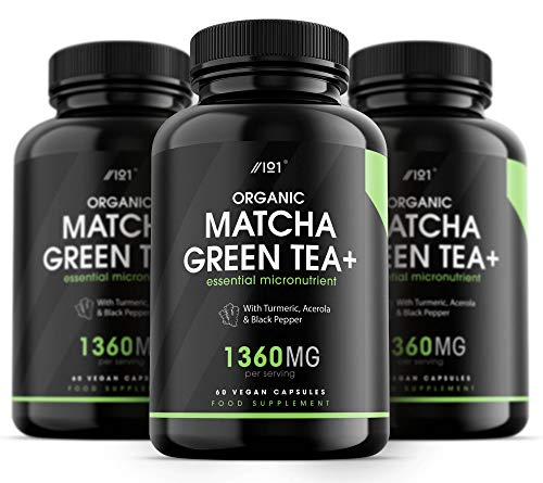 Organic Matcha Green Tea Capsules - 920mg - with Turmeric, Acerola & Black Pepper, 60 Vegan Capsules - No Additives — Non-GMO, Gluten Free. (3 Pack)