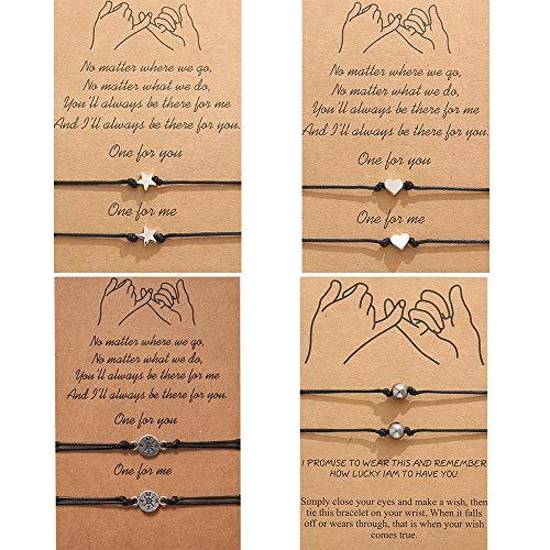 NEPAK 4 Stück Damen Armband Freundschaft Langstrecken Bettelarmband für Beste Freundin Geschenk für Paar Herren Damen