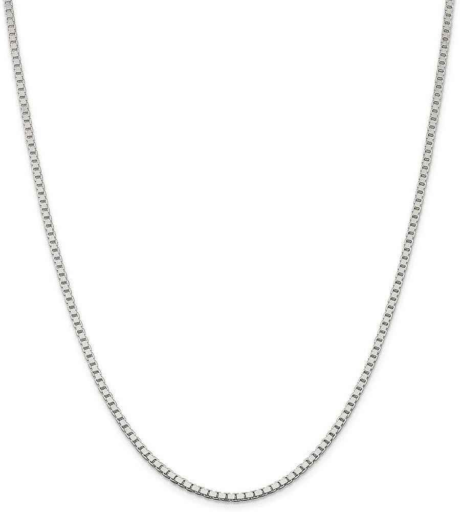 925 人気 Sterling Silver メーカー公式ショップ Solid Polished Necklace Lobs 2.5mm Chain Box