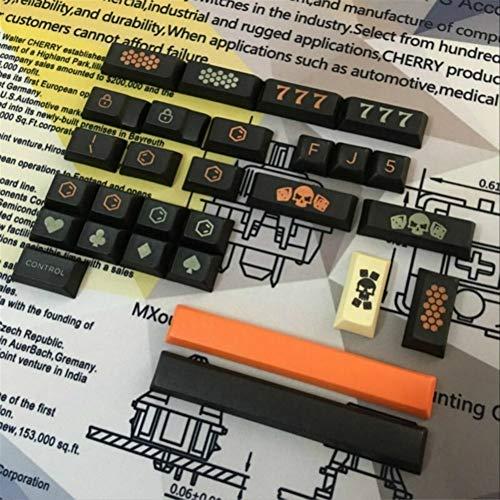 WULE-RYP Clave de Carbono DSA Cap PBT Sublimación Caps Teclado mecánico for usos Especiales de la Personalidad Los Nombres de Teclas adicionales (Color : 28 Keys)