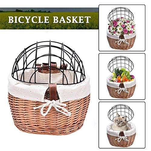 slientC Safety Bike Front Basket Small Pet Dog Cat Carrier Basket, Wicker Woven Bicycle Basket with Lid and Cloth Cover for Adults Boys Girls Bike