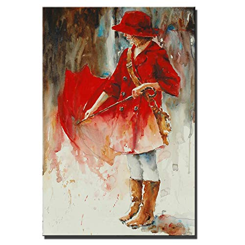 SADHAF Abstract rode paraplu rode jurk meisje Canvas Gedrukt Modern Home Decor Kamer Decoratie 50x70cm (no frame) A3