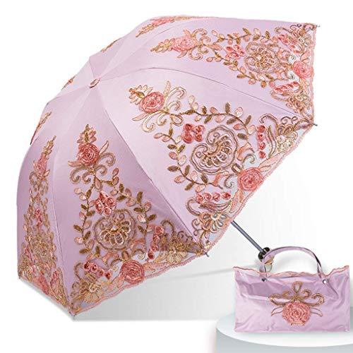 ZHENAO Sun Paraguas Lace Bordado Hecho a Mano Protección Sol Uv Tri-Color Princess Parasol Fácil de cargar/C