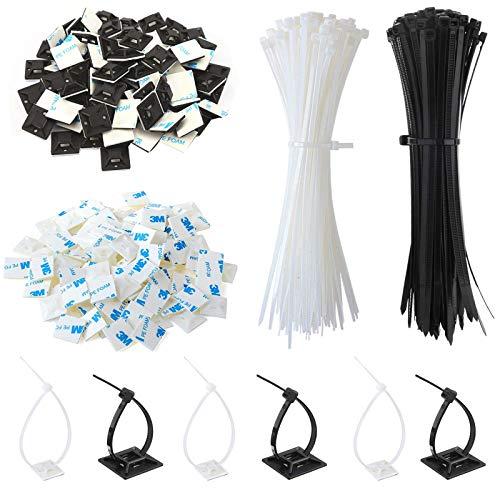 200 Stück Kabelbinder mit Kabelbinderhalterung, Mehrzweck-Kabelbinder Kabelschelle Kabelklemme mit Selbstklebende Basis Halter (Länge 150 mm, Breite 3.5 mm)