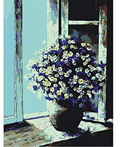 Olieverfschilderij van nummers Diy handgemaakte Wall Art Canvas verf Home Decor vensterbank bloem voor kamer nieuwe Gift 40X50Cm frameloze