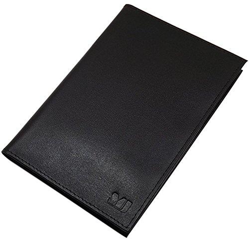 Echt leer ID-map 2 vakken in Vegetabil gelooid rundleer MJ-Design Germany in zwart