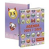 1 agenda scolastica giornaliera Emoji viola – 12 x 17 cm – da agosto 2021 a settembre 2022
