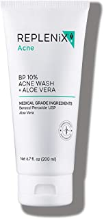 Replenix 10% Benzoyl Peroxide Wash With Aloe Vera, Advanced Acne Cleanser For Face And Body, 6.7 Fl Oz
