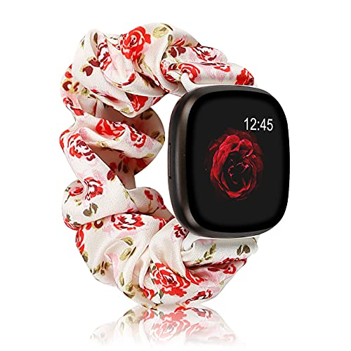 Correa de Tela Elástica Suave Compatible con Fitbit Versa 3 y Sense Strap, Pulsera de Reemplazo de Pulsera con Patrón de Tela Estampada para Mujer y Niña para Reloj Inteligente Fitbit Versa 3 / Sense