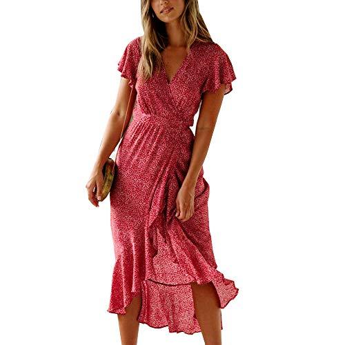 ACLOIN Damen Elegant Wickelkleid Blumen Kleid v-Ausschnit Rüschen Kleider Boho Strandkleid Baumwolle Sommerklei (Rot, M)