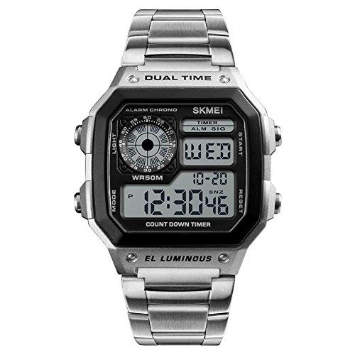 RONDAA Relojes Deportivos para Hombres Reloj Deportivo con Cuenta Regresiva Reloj de Pulsera Digital de Moda de Acero Inoxidable