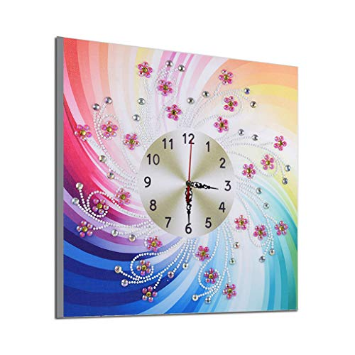 Uokoki Diamantes de imitación Reloj DIY de la Flor Pintura Cruz Punto de Cruz, decoración Floral de la Puntada del Bordado de la Costura Diamante Regalo Decoración de Oficina