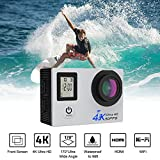 WiFi Waterproof Action Camera,2.4G Wireless 2' LED 4K 30fps 16MP Ultra HD,30M Diving Underwater,Mounting Bracket 170° Wide Angle Lens,Freely Photography Sports Video Cam with Wrist Remote Control