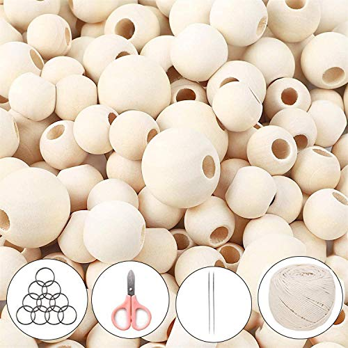 1200 Pcs Wooden Beads Set for Crafts, Natural Round Wood Loose Beads 5 Sizes (6 mm, 8 mm, 10 mm, 16 mm, 20 mm) for Garland Decor, with Jute Twine Keychain Threaders Scissors, Gifts for Girls Kids