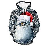 WLZQ Otoño Navidad Impresión Digital 3D Suéter Suelto con Capucha Suéter Pareja Uniforme De Béisbol...