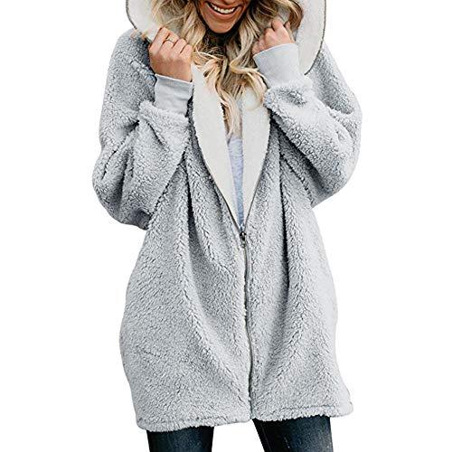 STORTO Women Coat Cat Ear Hoodie Jacket Zip Up Cute Fluffy Warm Winter Coat