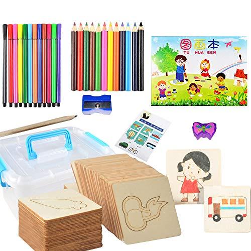 Topwon 36 Stück Holzschablonen mit niedlichem Tiermuster + 12 Aquarellstifte + 1 Bleistift für Kinder ab 3 Jahren