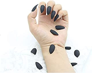 24 Pcs 12 Different Size Matte False Nails,Long Full Cover Fake Nail Tips Sets for Women(Black)