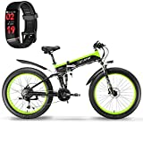 Extrbici Folding Electric Cruiser Bike XF690 500W 48V 10AH Hidden Battery Fat Bike Mountain Beach Snow Bicycle Full Suspension 7 Speeds 26 * 4.0 Fat Tire Hydraulic Disc Brake (Black Green)