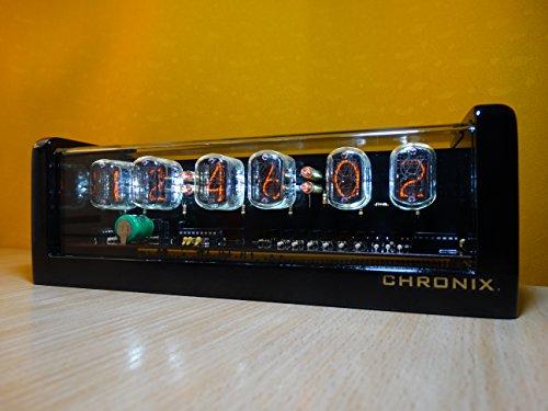 CHRONIX Vintage Nixie Tube Uhr mit 6 x IN-12 Displays & Wecker, weiße Hintergrundbeleuchtung & schwarzes Hochglanz-Holzgehäuse