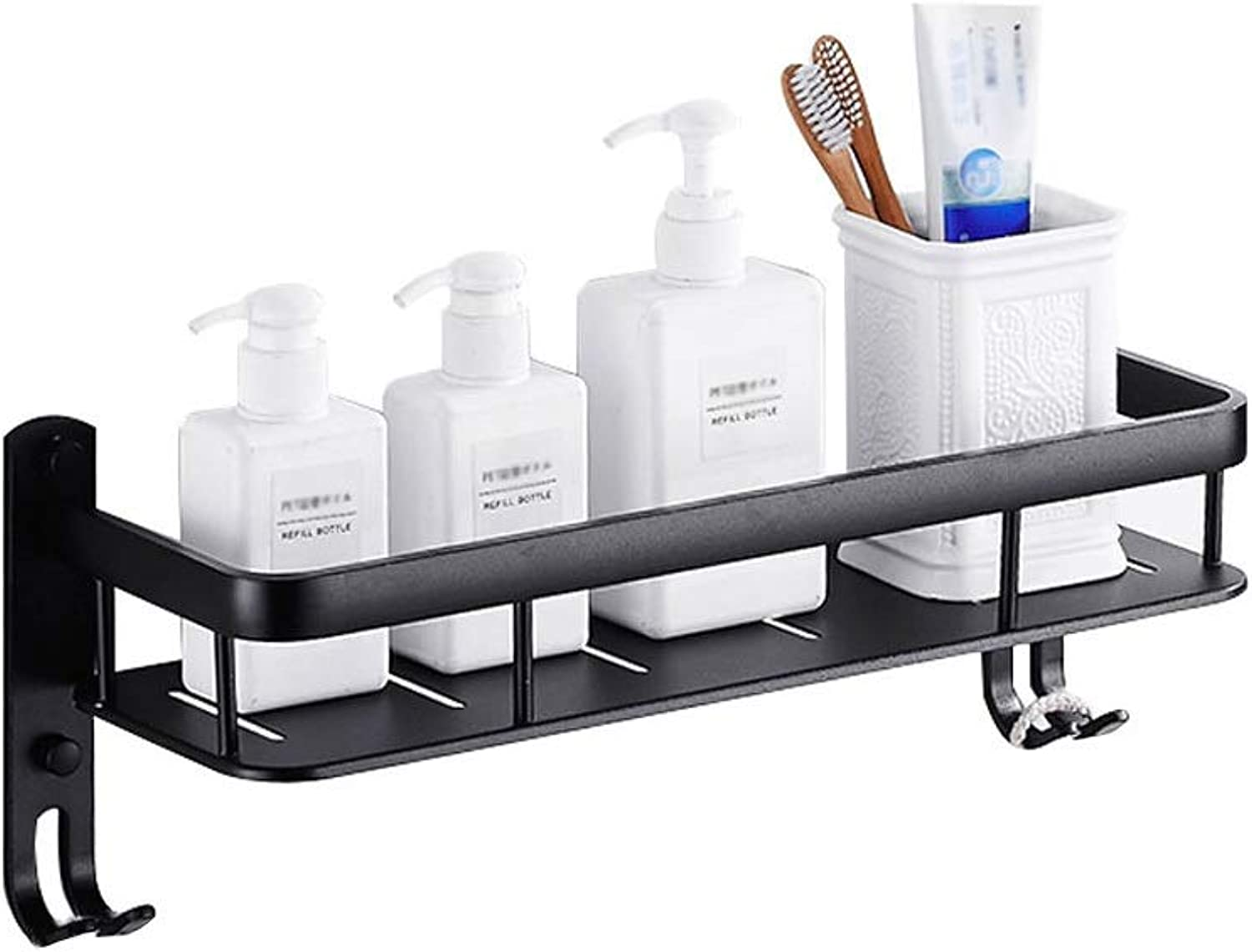 Bathroom Wall-Mounted Racks for Kitchen Or Bathroom, Condiments, Shampoo Or Bathroom Products, Space Aluminum, with Hooks, Available in A Variety of Sizes, Black (Size   40cm)