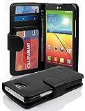 Cadorabo Hülle für LG L90 - Hülle in Oxid SCHWARZ – Handyhülle mit 3 Kartenfächern - Hülle Cover Schutzhülle Etui Tasche Book Klapp Style