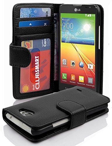Cadorabo Hülle für LG L90 - Hülle in Oxid SCHWARZ – Handyhülle mit 3 Kartenfächern - Case Cover Schutzhülle Etui Tasche Book Klapp Style
