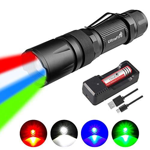 ULTRAFIRE Linterna LED 4 en 1  azul  verde  rojo y blanco  con zoom  táctica con batería