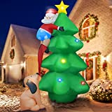 YEGKGO 6FT Christmas Inflatable Blow Up Decoration,Inflatable Christmas Tree with Santa Claus and Dog, Self Inflatable Christmas Decor with LED Light for Indoor, Outdoor, Yard, Garden, Lawn, Square
