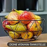 Chefarone Obstschale Metall – dekorativer Obstkorb Vintage Schwarz – Obst Aufbewahrung für mehr Vitamine in Ihrem Alltag (26x26x12cm) - 3