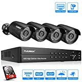 FLOUREON DVR Video Kit de vigilancia (8CH 1080N AHD DVR + 4 *1080P 3000TVL 2.0MP cámara exterior+disco duro de 1TB...
