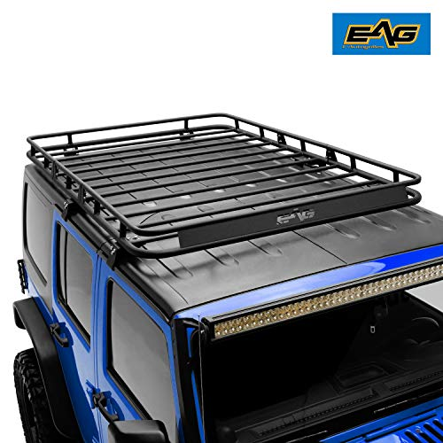 EAG 4 Door Roof Rack Cargo Basket 3PCS with Wind Deflector Fits for 07-18 Jeep Wrangler JK