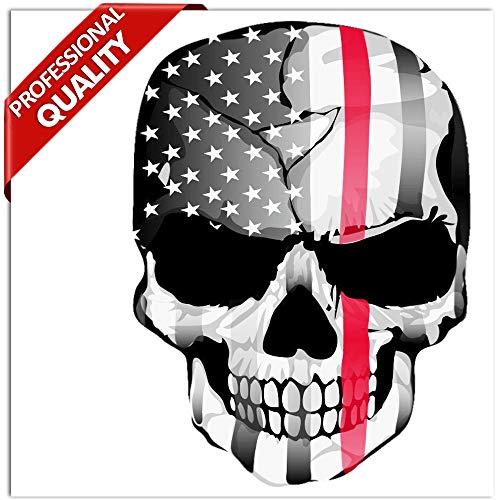 SkinoEu® 2 Stück Vinyl Aufkleber Autoaufkleber Skull Schädel Totenkopf Knochen USA Flagge Vereinigte Staaten Von Amerika Horror Stickers Auto Moto Motorrad Fahrrad Helm Fenster Tuning B 42