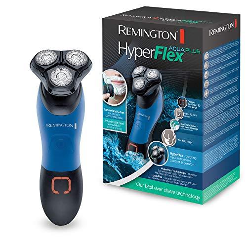 Remington Rotationsrasierer HyperFlex Aqua Plus XR1450, flexibler Schwingkopf, ComfortFloat-Scherringe, Nass- und Trockenanwendungen, schwarz/blau