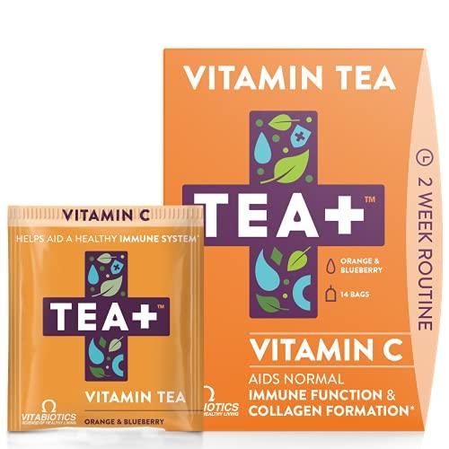 Vitabiotics TEA + (Tea Plus) Vitamina C Té - Proporciona apoyo inmunológico   Té de hierbas con vitamina C, equinácea y ginseng   Sabor natural de naranja y arándano   14 bolsitas de té