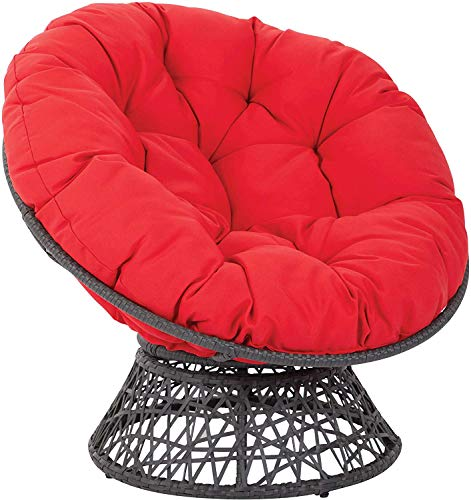 xdvdfvbdf Overstuffed Papasan Chair Cushion,Tufted Swing Rattan Chair Cushion,Round Cushion Thick Comfortable Oversized Papasan Pad Red D110cm(43inch)