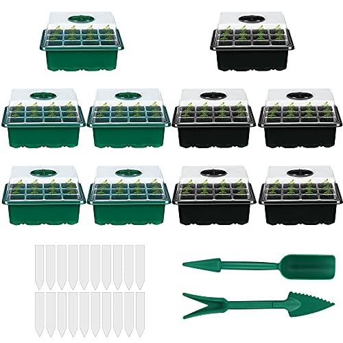Bac à Semis, Mini Serre Plateaux de Germination des Plantes avec Couvercle Pots de Culture en Intérieur Plateau de Semis pour Démarrage Germination Croissance en Serre (Lot de 10)