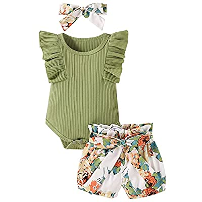 Baby Girl Clothes Infant Summer Outfit Set Ruffle Sleeve Romper Floral Pants 3PCS Bodysuit +Shorts +Headband(Green, 12-18 Months) by