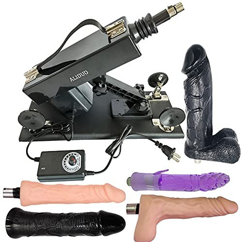 Electric Automatic Thrusting Machine Gun Luxurious Massager Powerful Retractable Gun Multi-Angle Adjustable Adapter with XLR Accessories (Black)
