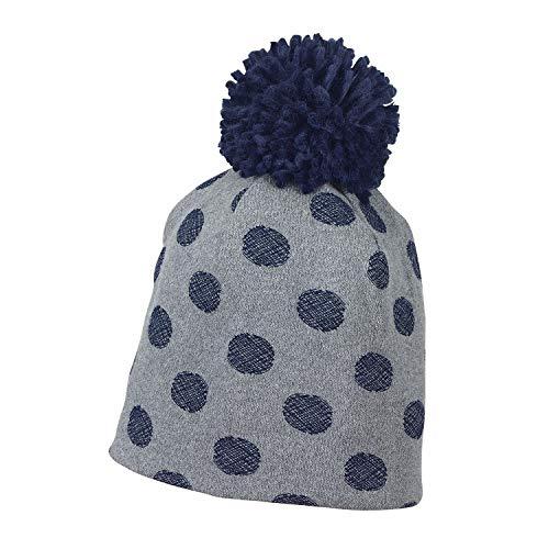 Sterntaler - Jungen Wintermütze Bommelmütze mit großen Blauen Punkten, rauchgrau - 4421801, Größe 53