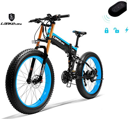 HUBUISH 750PLUS 48V 14.5AH 1000W Almighty Motor Electric Bike 26''4.0 Big Tire Mountain Bike Folding Electric Bike for Adult Women/Men with Anti-Theft Device (Blue, No Spare Battery)