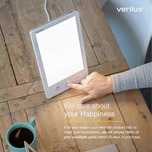 Verilux HappyLight VT43 Luxe 10,000 Lux LED Bright White Light Therapy Lamp with Adjustable Brightness, Color, and Countdown Timer, 53 sq. in. Lens Size