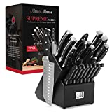 19-Piece Premium Kitchen Knife Set With Wooden Block | Master Maison German Stainless Steel Cutlery With Knife Sharpener & 8 Steak Knives