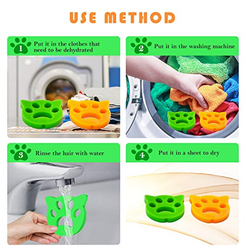 NO-1 Pet Hair Remover for Laundry Laundry pet Hair Catcher - Cats and Dogs Hair Catcher for Washing Machine(4 Pack)