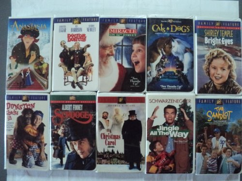 Kids and Children 10 Pack VHS Movies, Anastasia, Doctor Dolittle: Rex Harrison, Samantha Eggar, Anthony Newley, Miracle on 34th Street, Cats & Dogs, Shirley Temple-bright Eyes, Dunston Checks In, Albert Finney Scrooge, George Scott a Christmas Carol, Jingle All the Way, the Sandlot